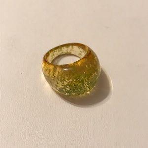 Jewelry - angelique de paris green flower petal resin ring